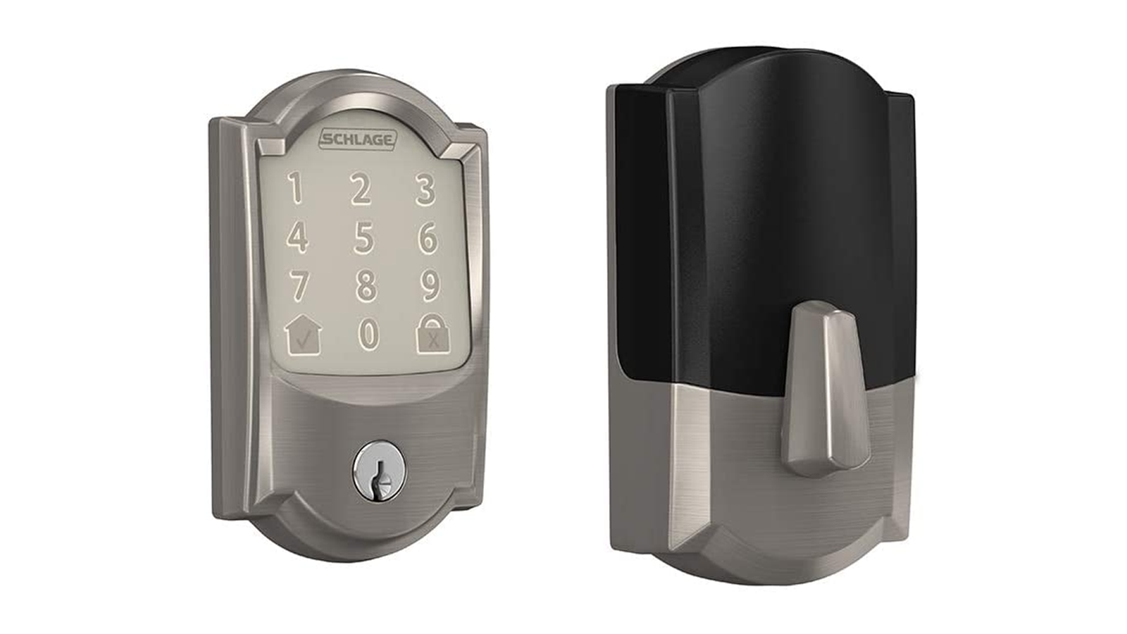 A photo of the Schlage smart lock and keypad.