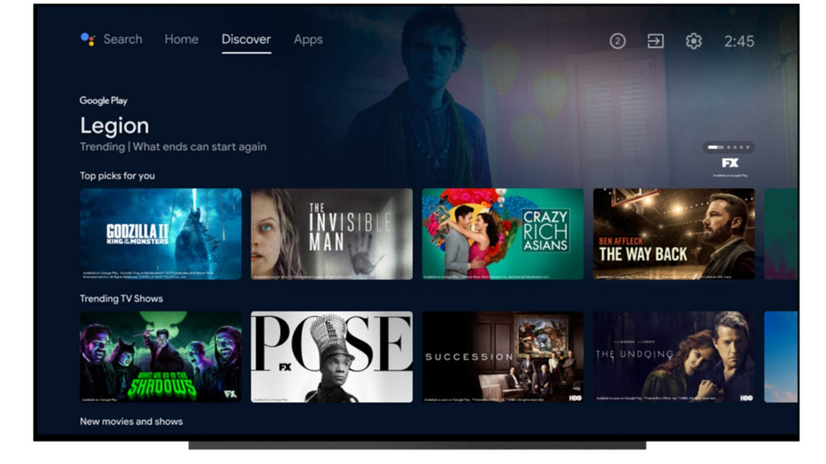 Android TV refreshed interface, Discover tab