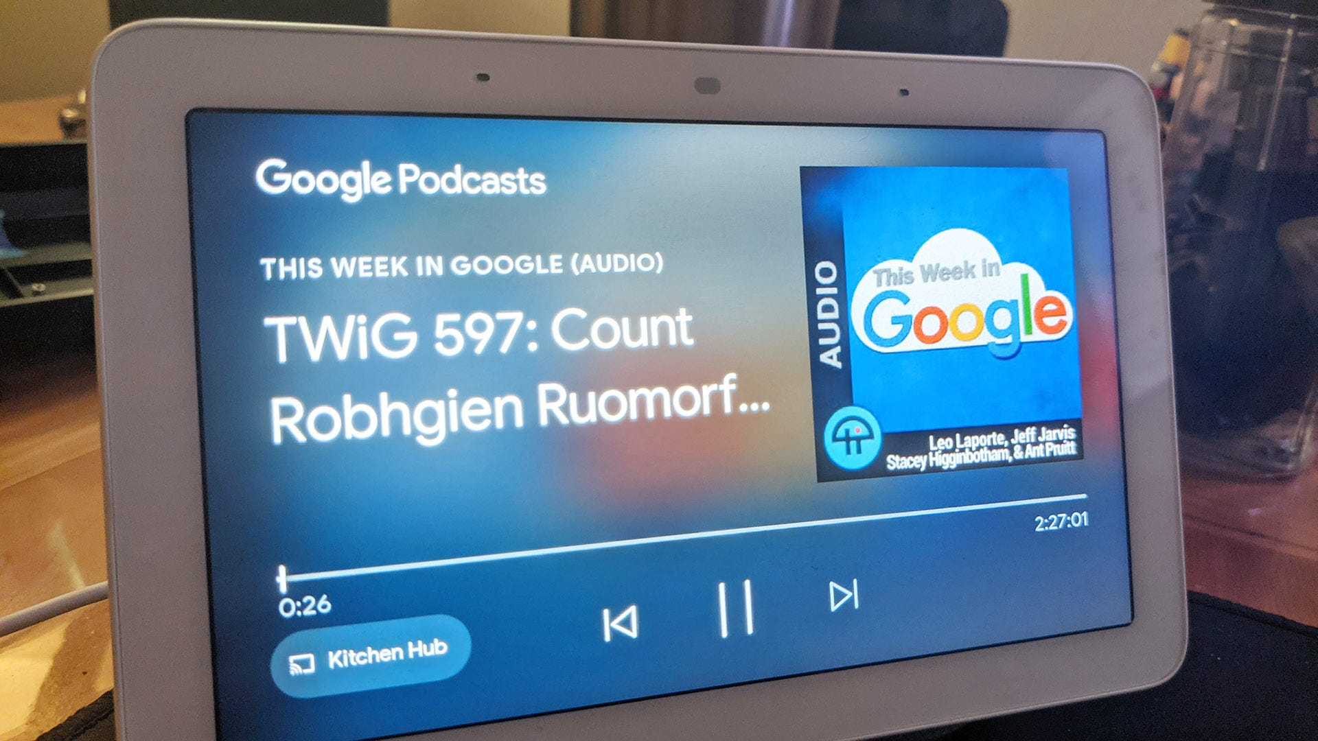 Google Podcasts on the Google Home screen