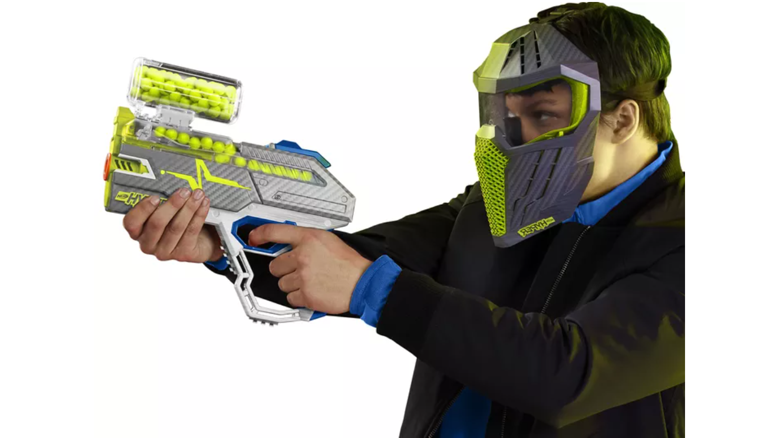 Person holding one of the new Nerf Hyper blasters with a protective mask on