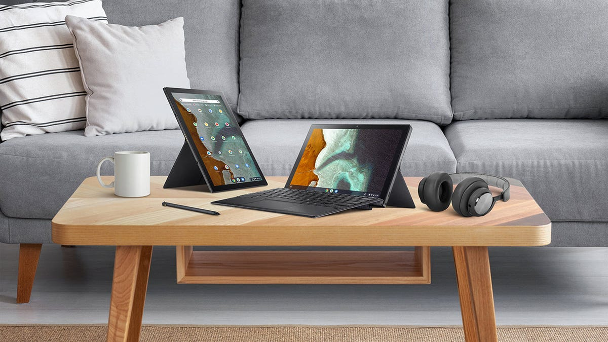 Two Asus Chromebook CM3 tablets, one in horizontal and the other in vertical position.