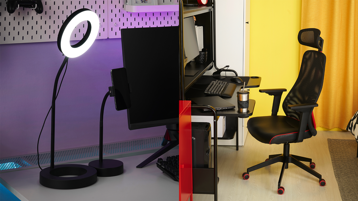 Ikea's LÅNESPELARE ring light and MATCHSPEL gaming chair.