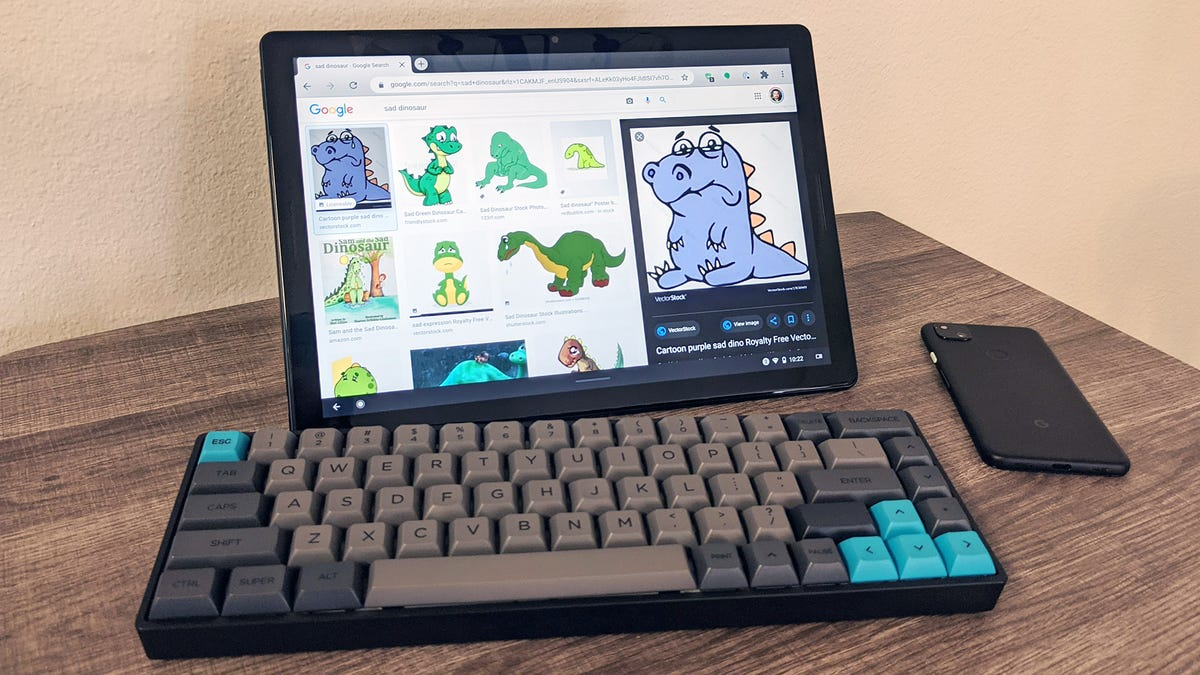 Pixel Slate with keyboard and phone