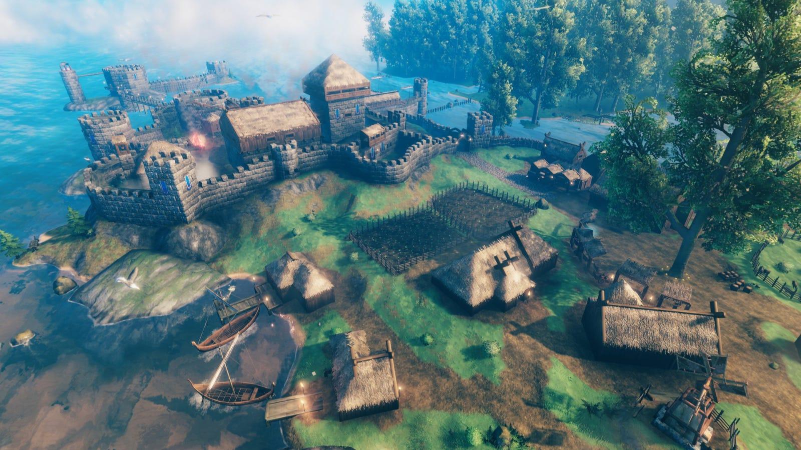 A sprawling player-made village in 'Valheim'