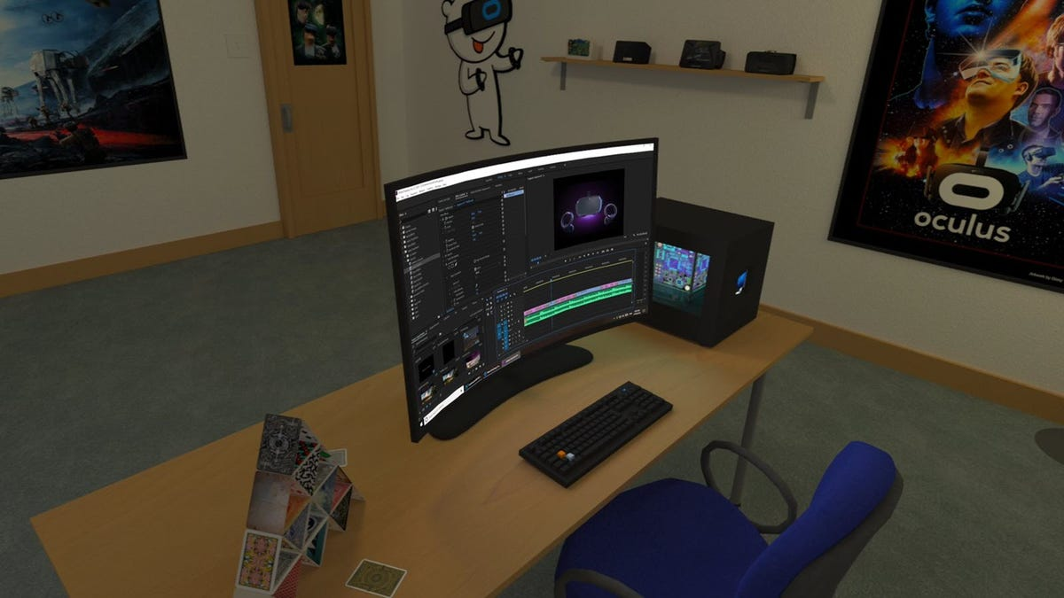 A VR office with a simulated computer desktop on the VR desk