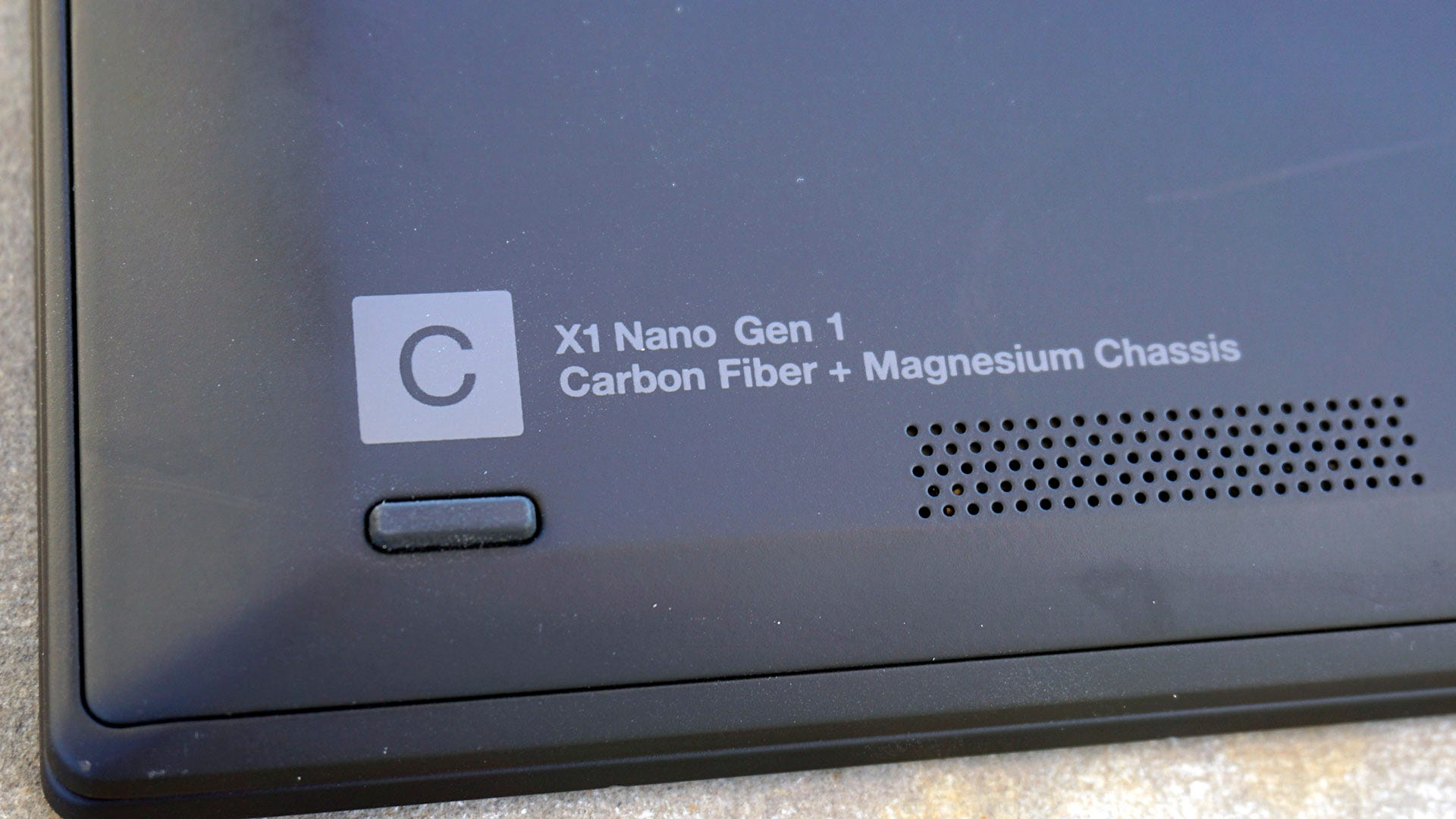 "ThinkPad X1 Nano model label, ""Carbon Fiber + Magnesium Chassis"""