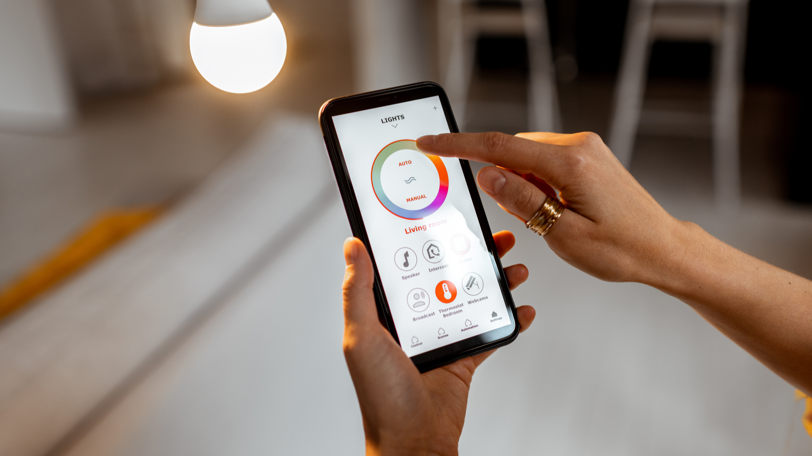 Controlling smart bulb temperature and intensity with smartphone app