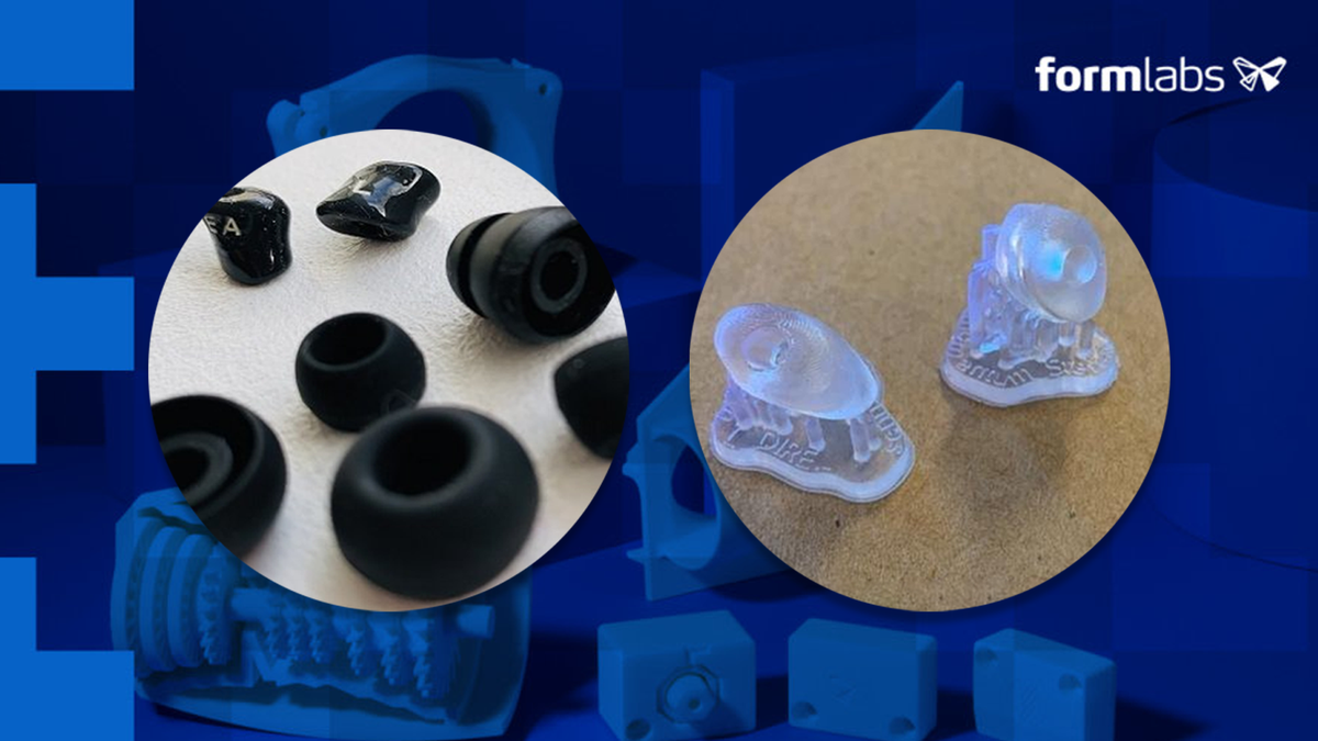 A photo of the Formlabs x Sennheiser bespoke earbuds.