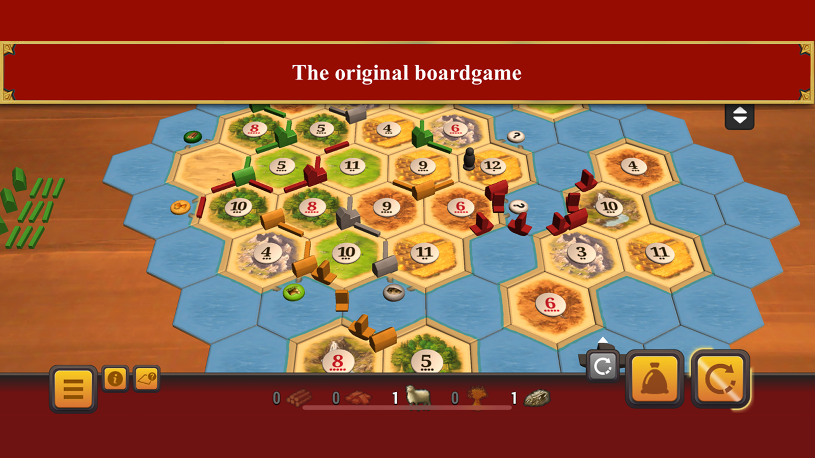 Catan gameplay with player settlements and resource cards