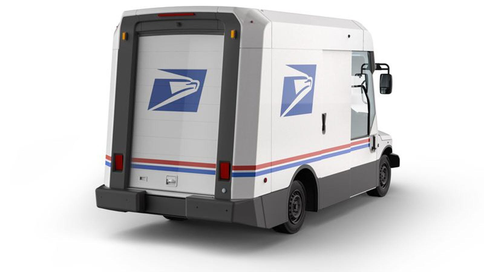 The backside of the new USPS mail truck