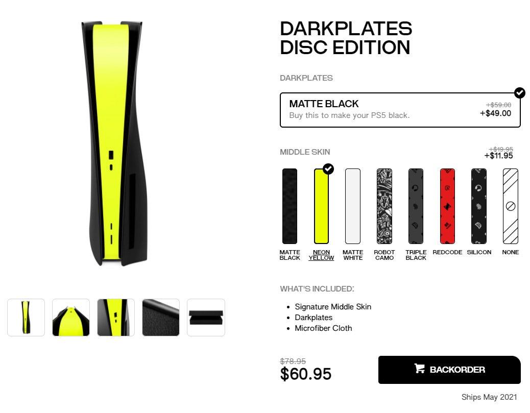 Dbrand order page for Darkplates