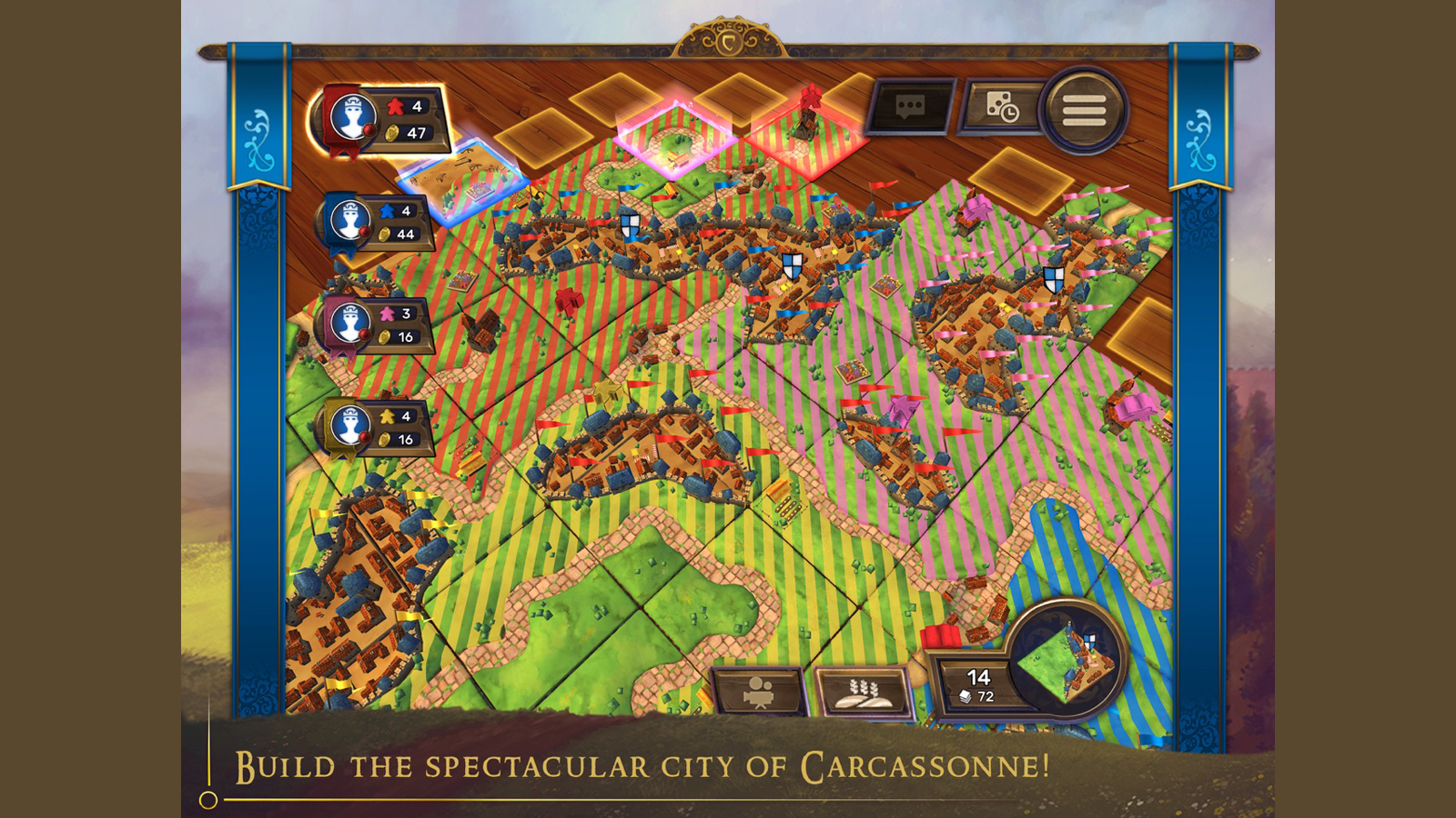 Carcassonne sample gameplay with tiles