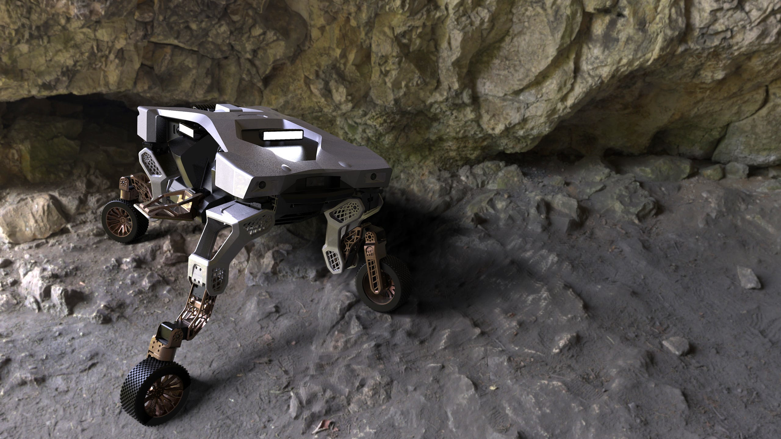 A Hyundai Tiger X-1 with outstretched legs in a cave.