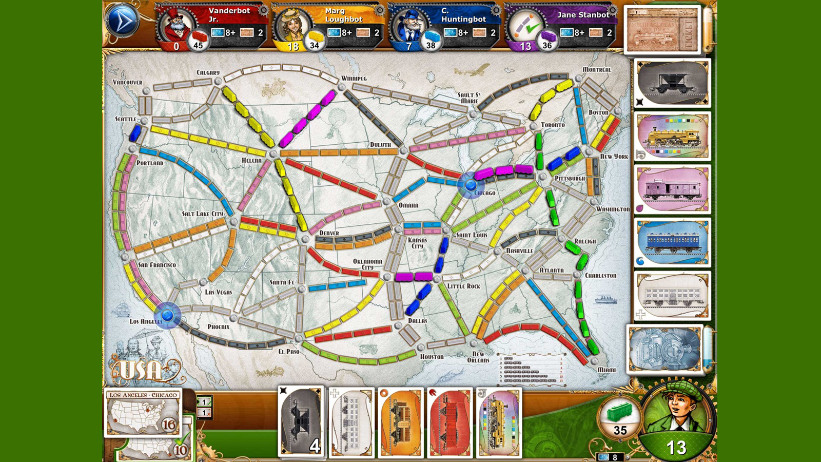 Ticket to Ride game with competing railways on the map