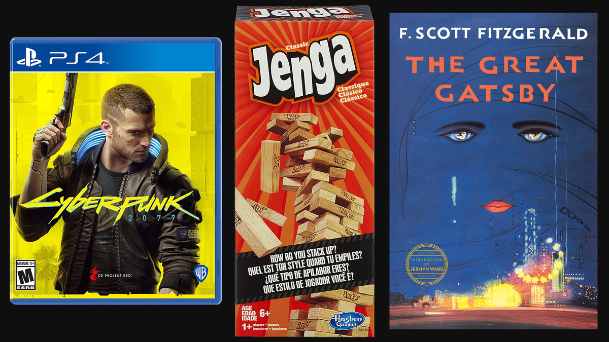 Cyberpunk 2077 video game, Jenga tabletop game, The Great Gatsby book on black background
