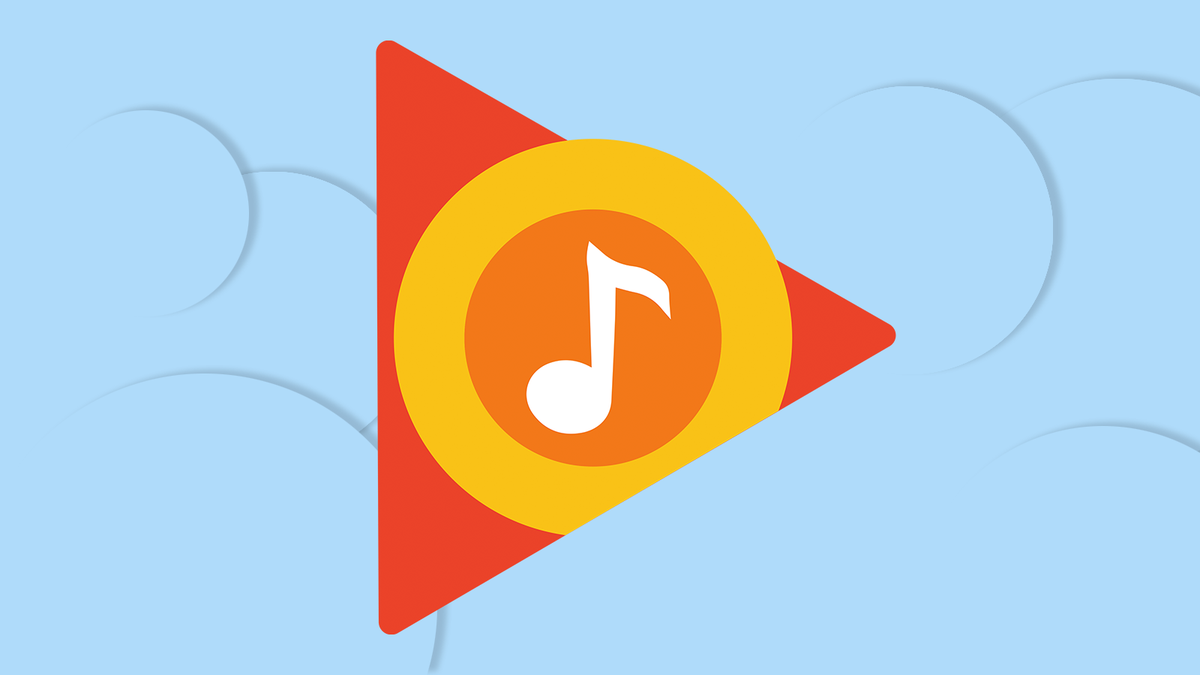 The Play Music logo on a blue background.