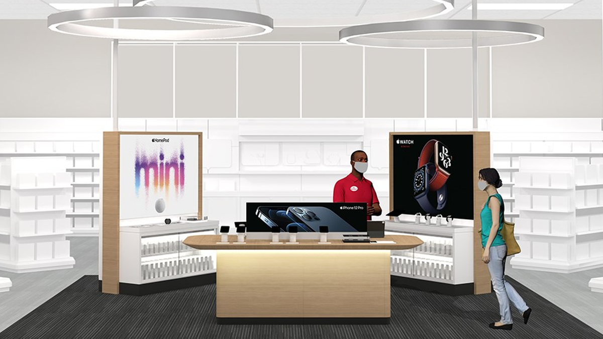 A concept illustration of Target's new mini Apple Store.