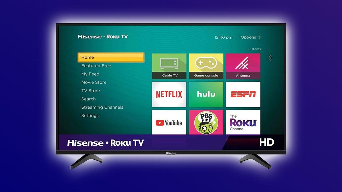 Hisense H4 TV against purple backdrop