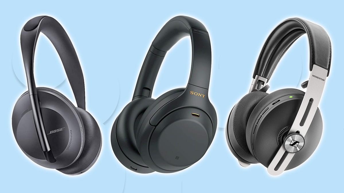A photo of the Sony WH-1000XM4, Bose NC Headphones 700, and Sennheiser Momentum 3 headphones.