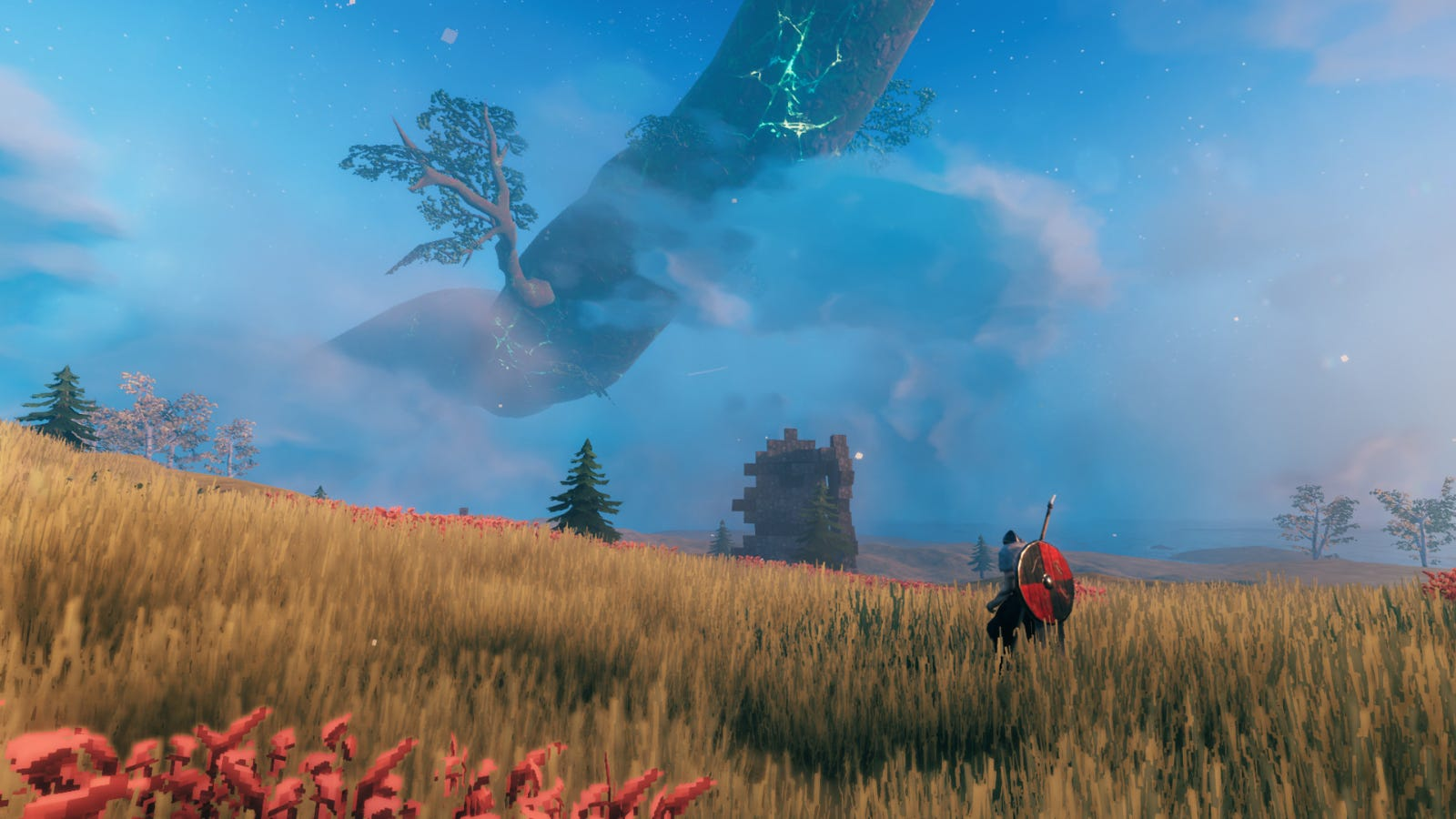 A player character standing in the middle of a field in 'Valheim'