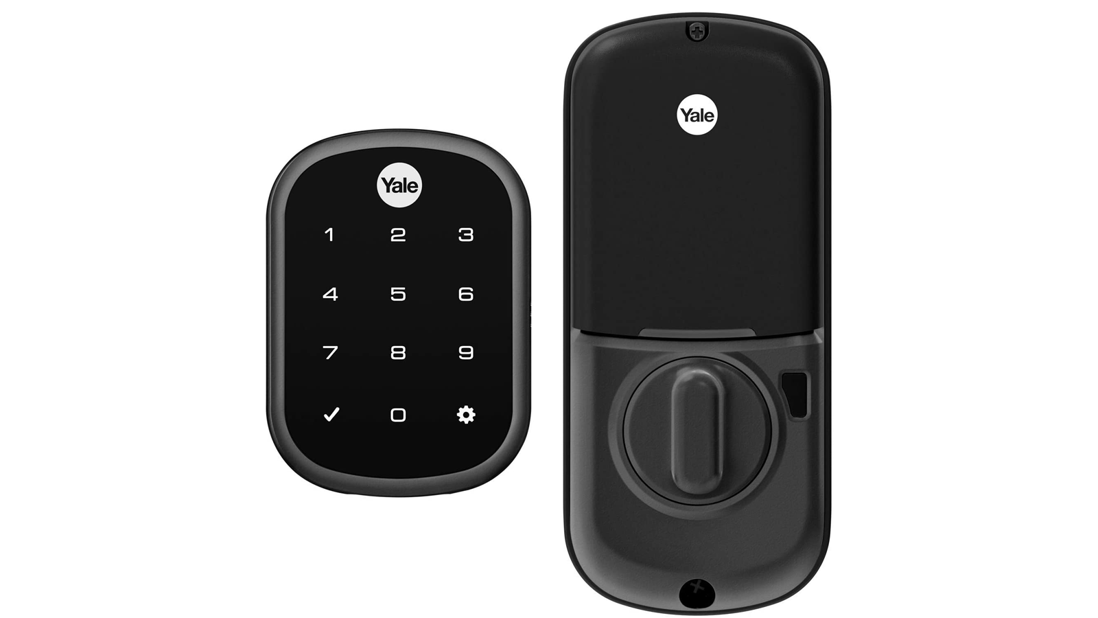 A photo of the Yale Assure smart lock and keypad.