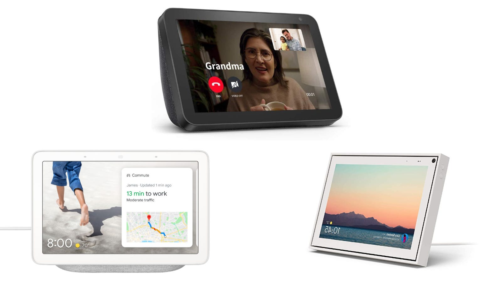 Google Nest Hub, Amazon Echo Show 8, and Facebook Portal against a white background