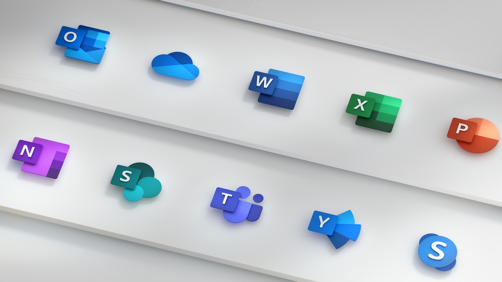 The logos for Outlook, Word, Excel, Powerpoint, and other Microsoft software.
