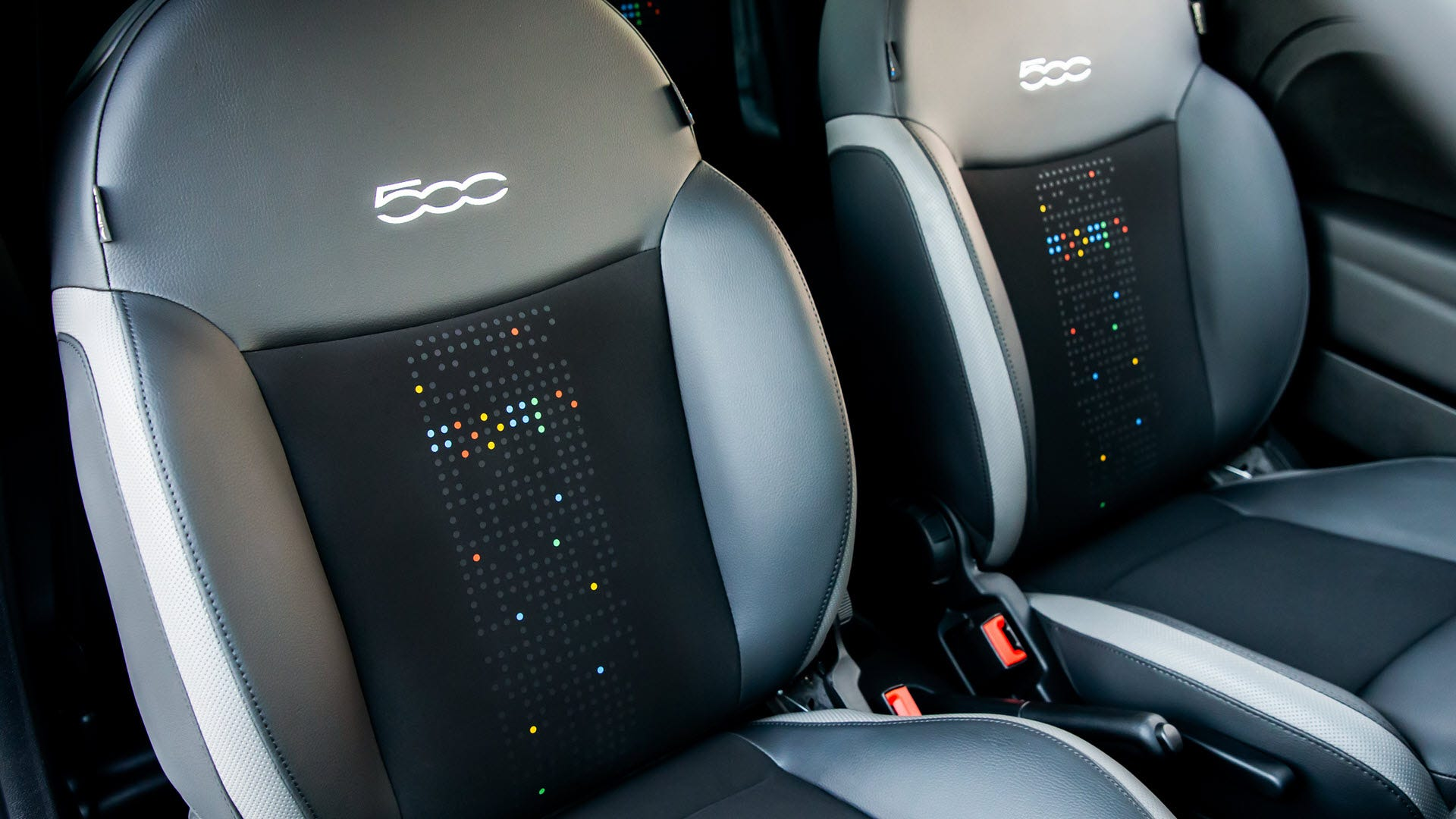 Car seats with a Google inspired dot pattern