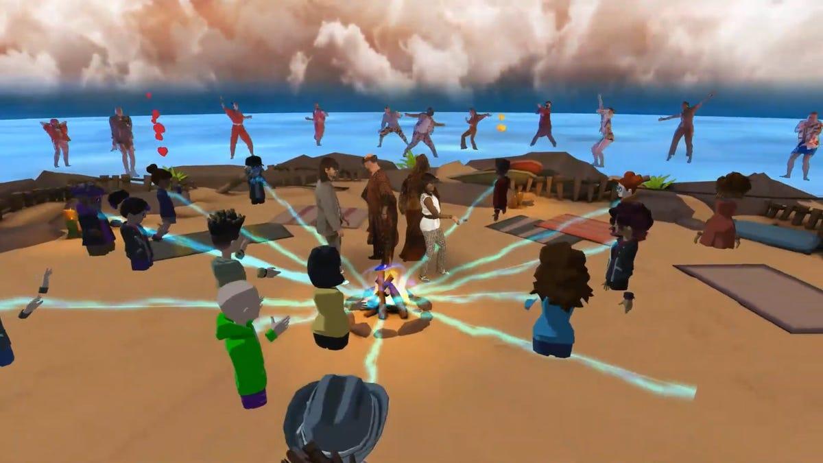 Digital avatars shooting energy beams at a campfire.