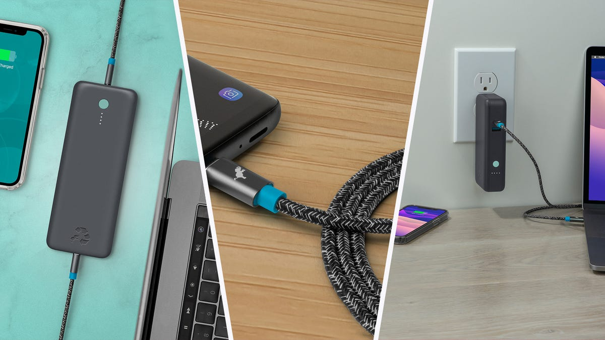 A Champ power bank, PowerKnit cable, and Wally Pro charger.