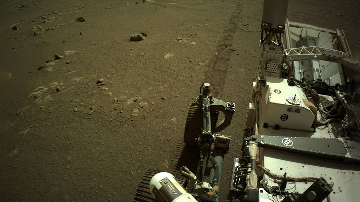 A photo of the Perserverance rover on Mars.