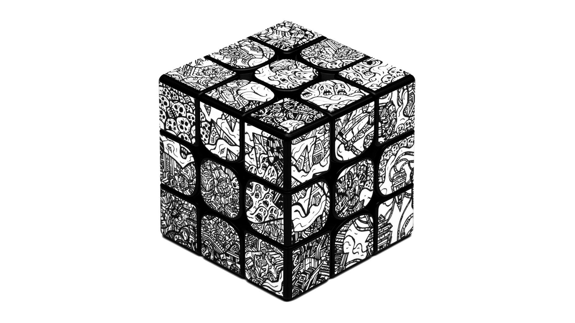 A Rubik's Cube-style puzzle covered in dbrand's Robot Camo skin.