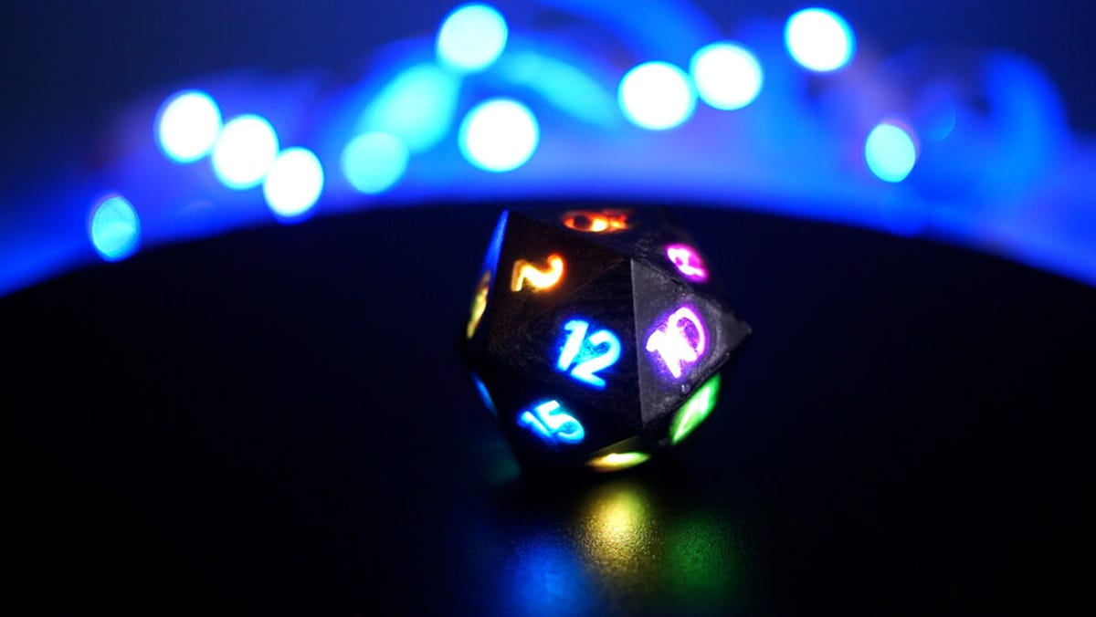 A 20-sided die with LED-lit numbers.