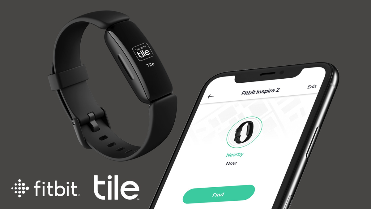 """The Fitbit Inspire 2 wearable running the Tile """"find my device"""" software."""