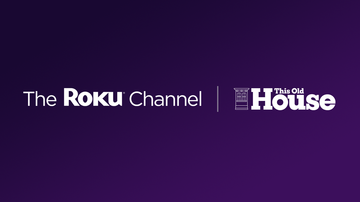 The Roku Channel logo alongside This Old House logo on purple background