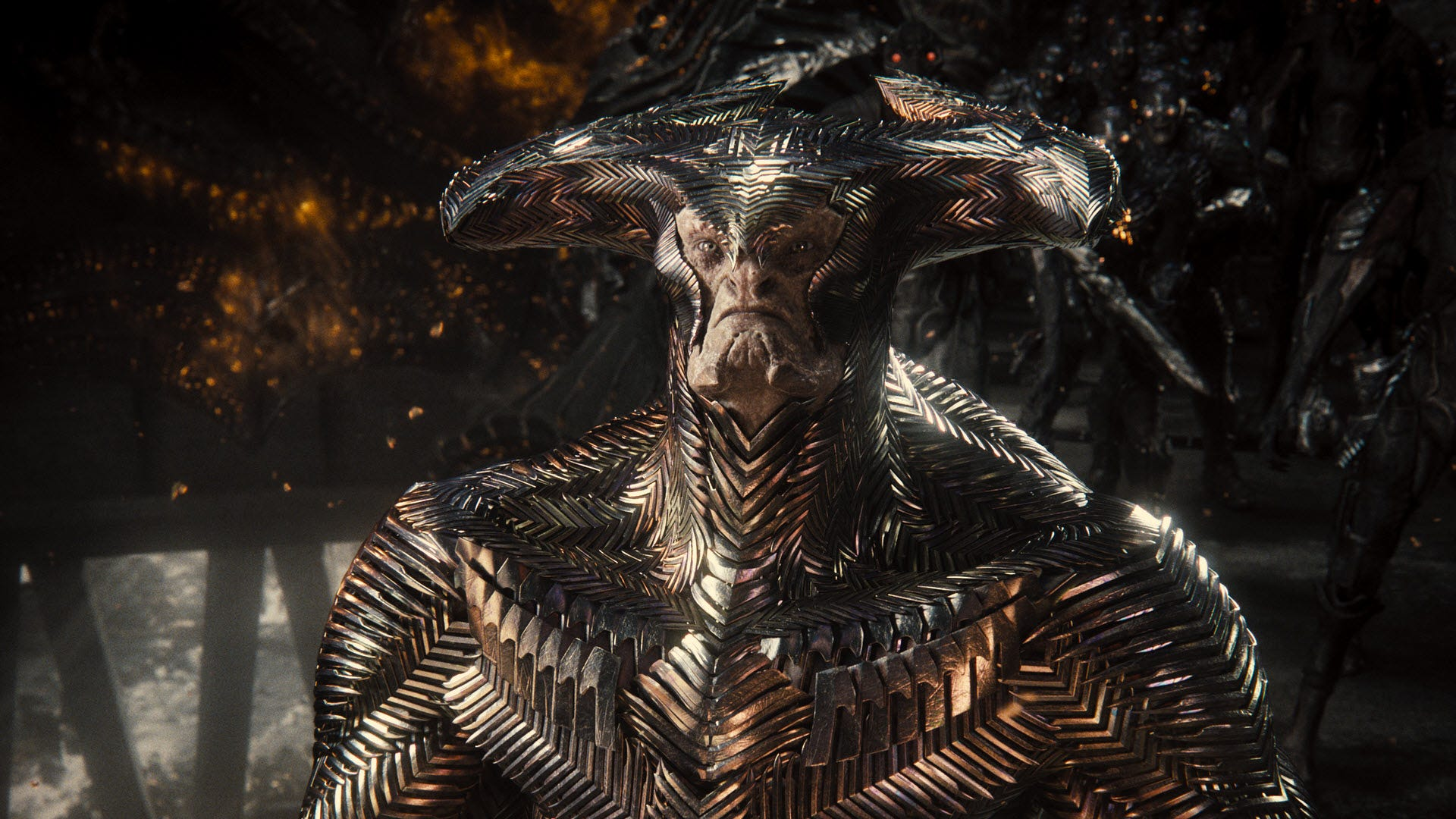 Steppenwolf covered in metal armor.