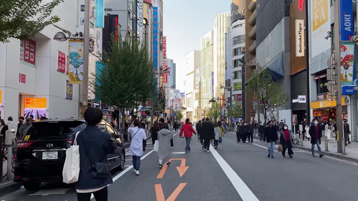 Walking down a street in Japan