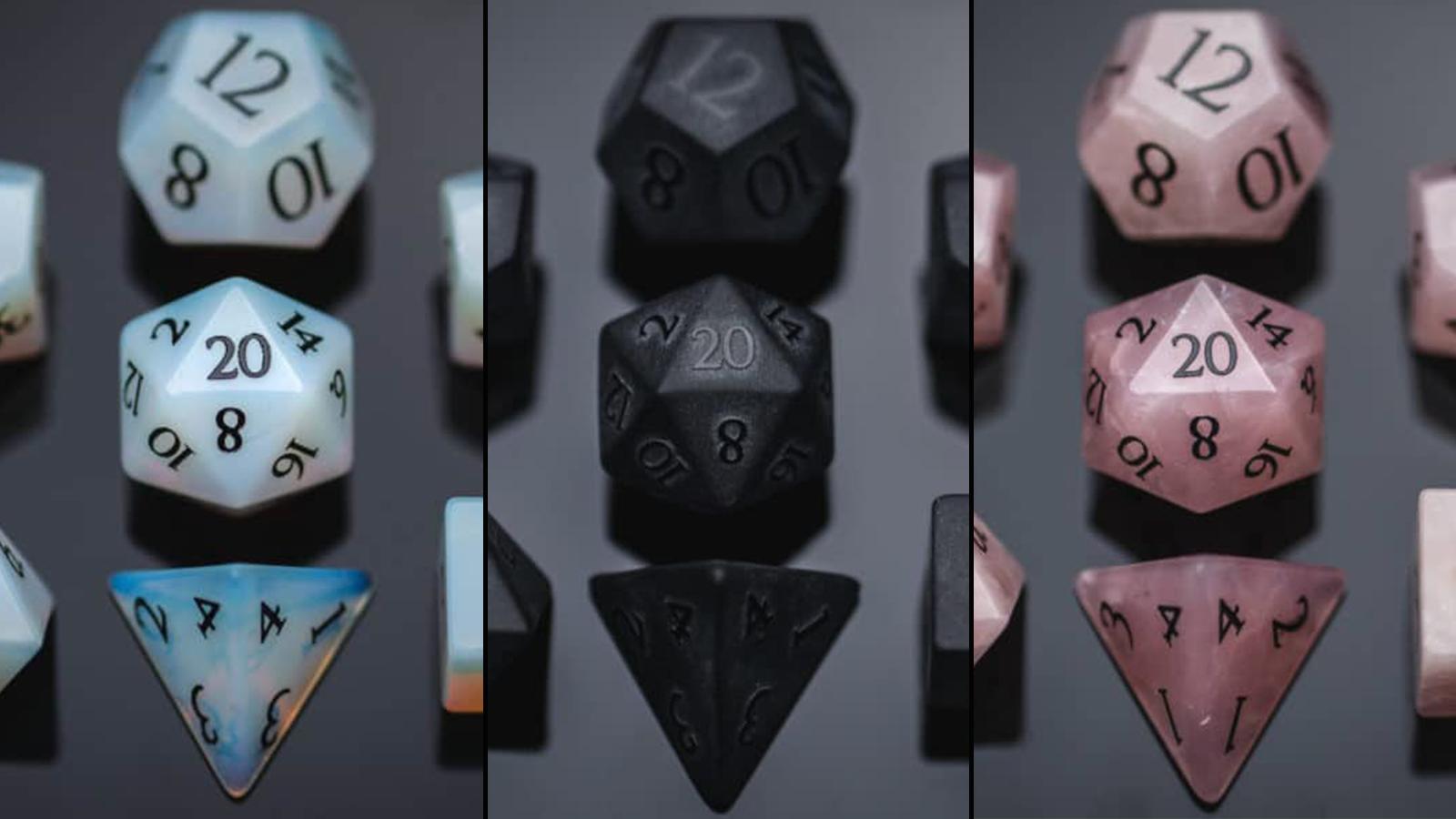 Three pairs of Wyrmwood dice