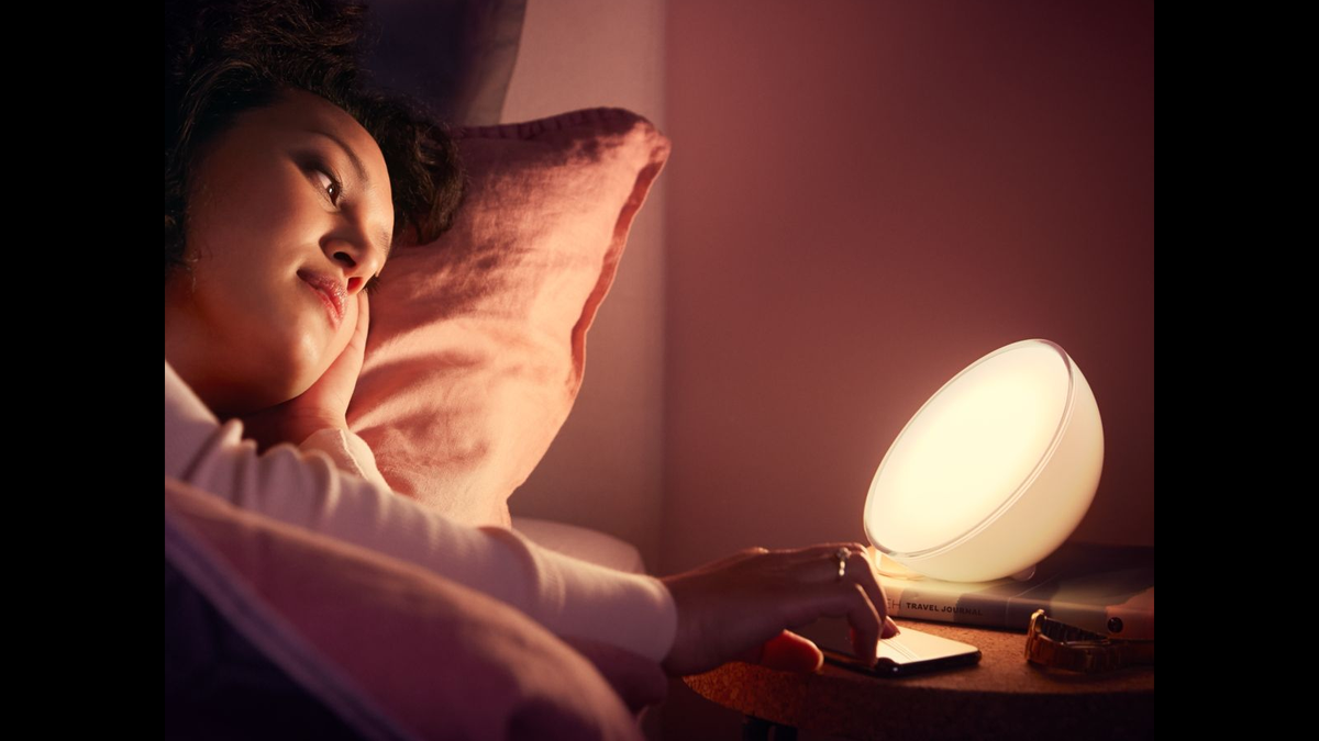 The Philips Hue Go smart lamp.