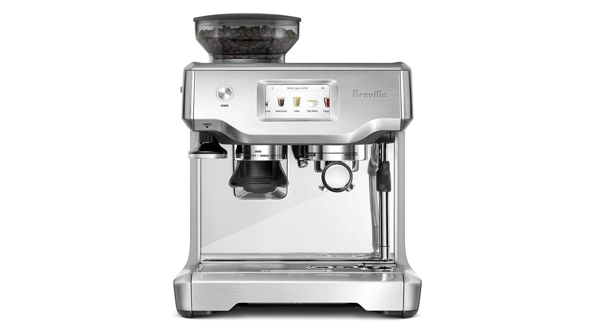A Breville Espresso machine with a touchscreen and bean hopper.