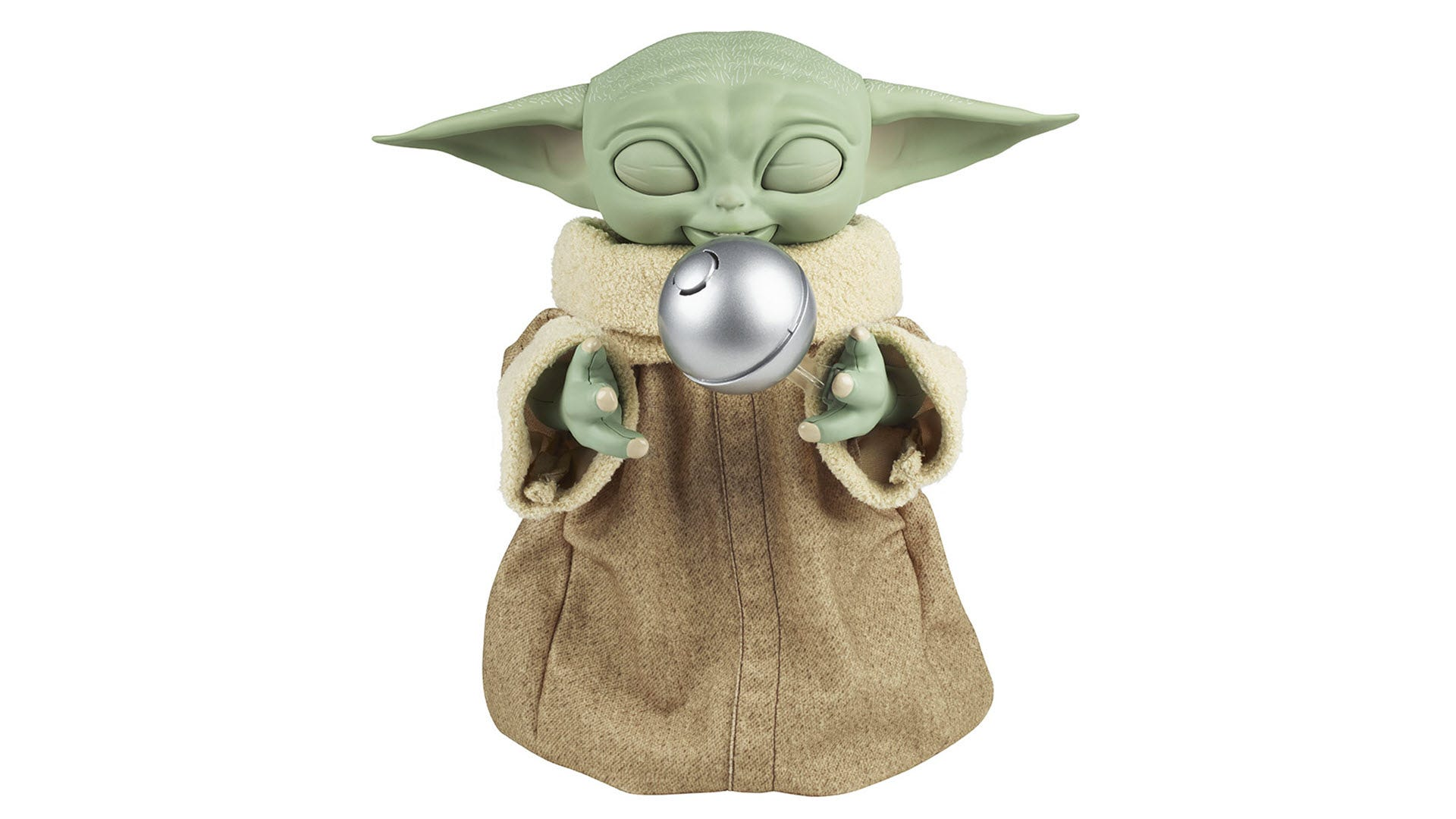"A Grogu toy floating a shifter knob ""with the Force."""