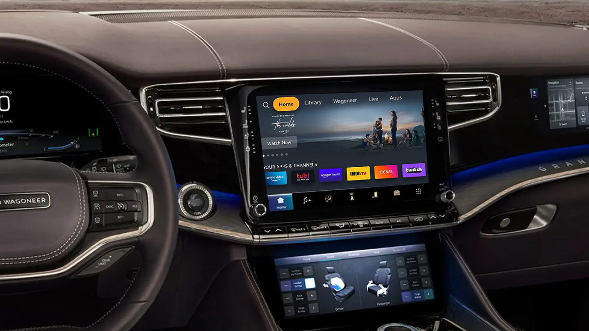 The Jeep Wagoneer with Fire TV on the infotainment display.