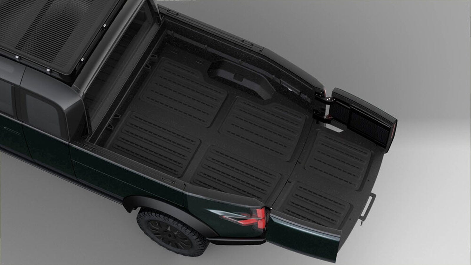 The back of a pickup with an extended bed