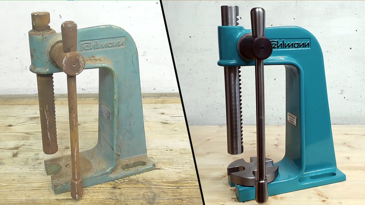 A machine before and after a full restoration on the YouTube channel 'my mechanics'