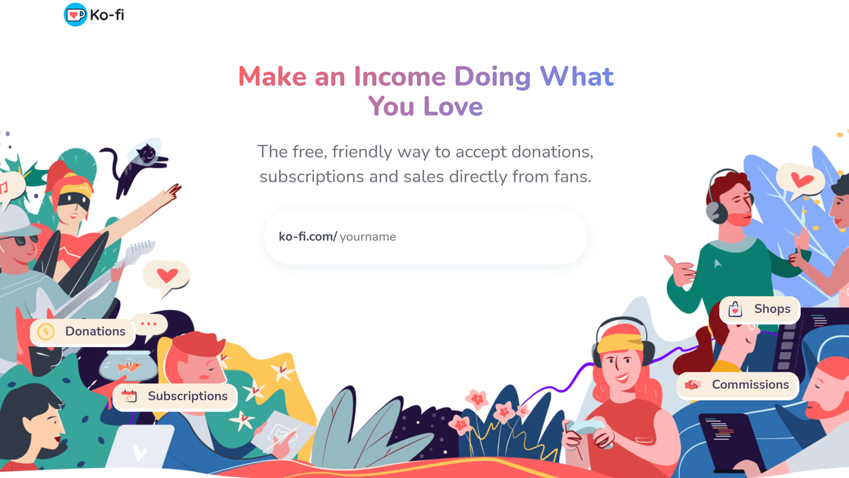 Ko-fi home page with graphics of people and hearts