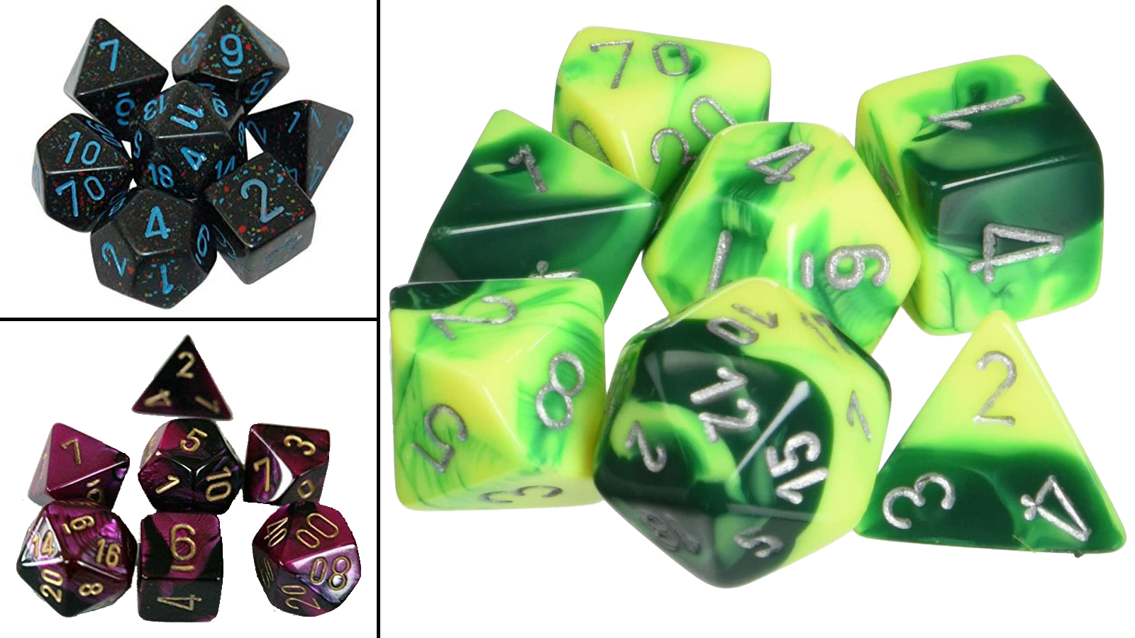 Chessex dice sets in different colors