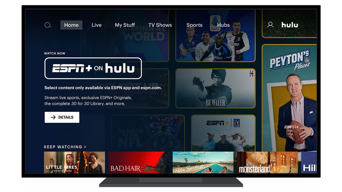 An illustration of ESPN+ on Hulu