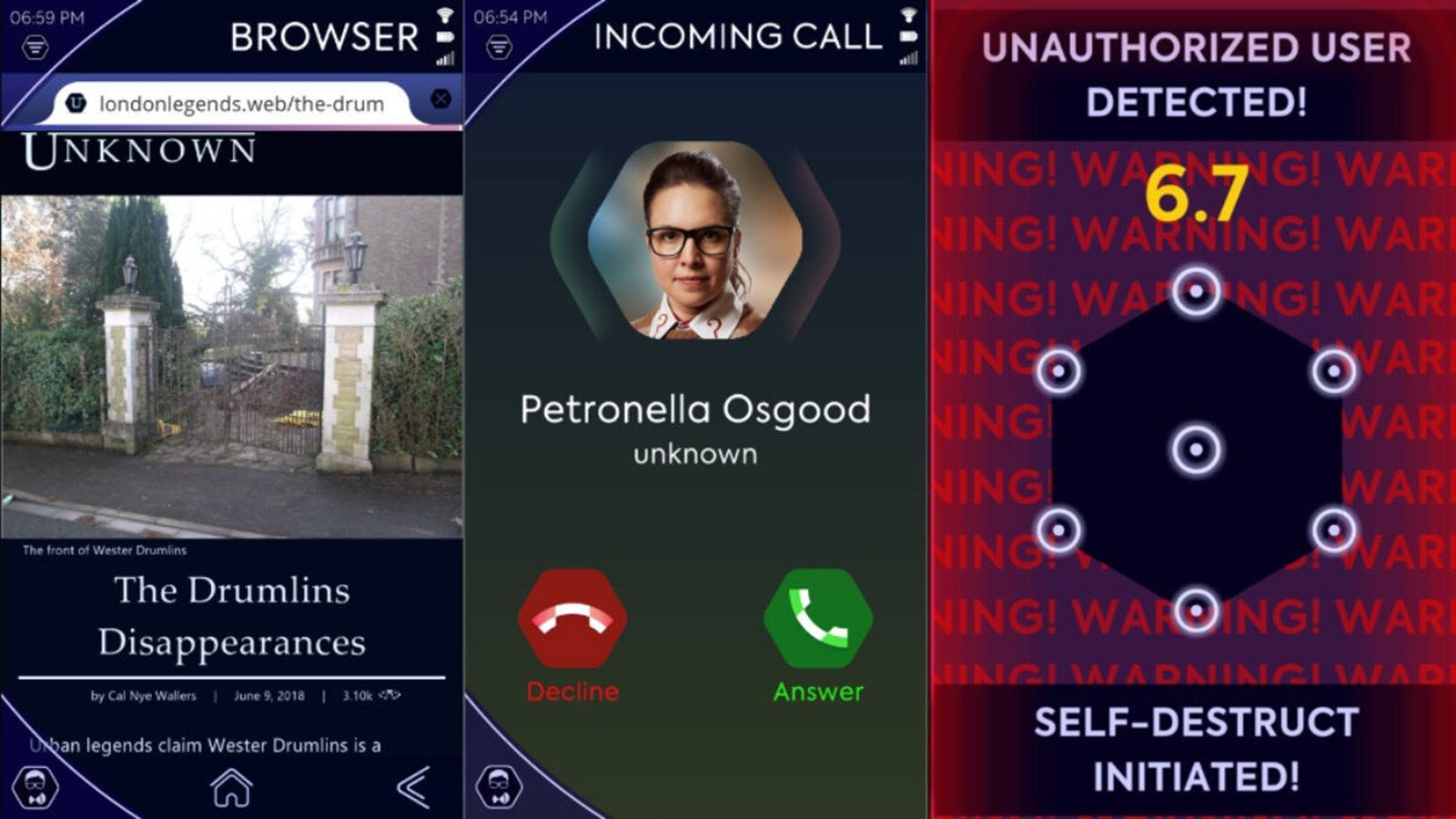 """Screens that look like phone calls and text messages in a """"The Lonely Assassins"""" game."""