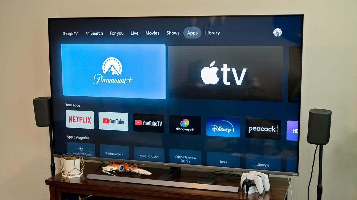 The Paramount+ app on a Chromecast-powered TV.