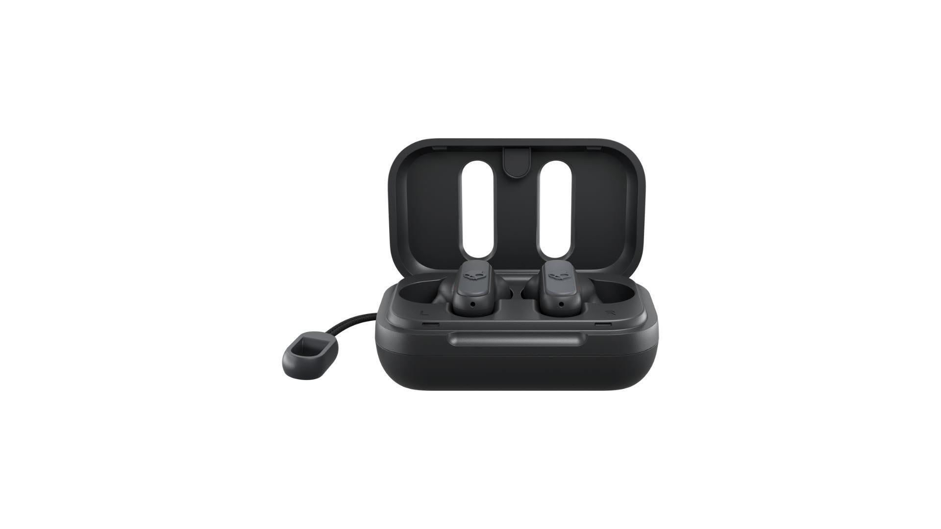 A set of black true wireless earbuds in a case.